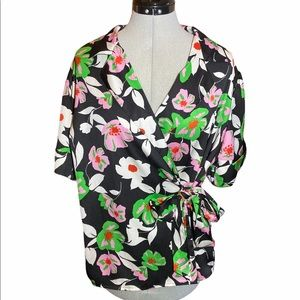 NWT Who What Wear Floral Wrap Tie Front Blouse XL